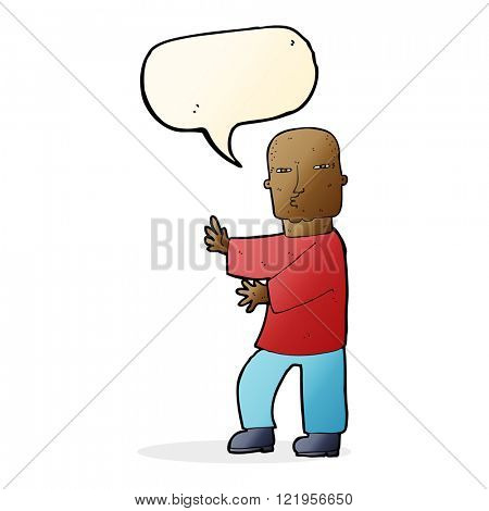 cartoon tough man  with speech bubble
