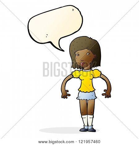 cartoon woman looking sideways with speech bubble