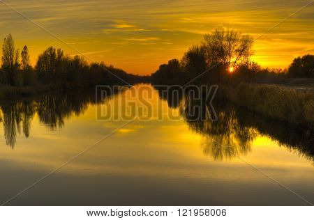 Landscape at sunset time - Ukrainian river Orel