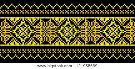 golden and black embroidered good like old handmade cross-stitch ethnic Ukraine pattern. Ukrainian towel with ornament, rushnyk called, in vector
