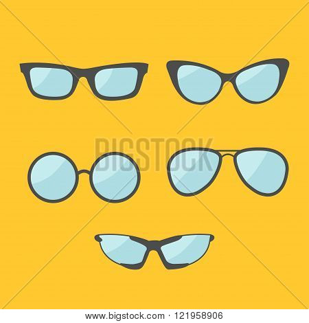 Glasses set. Eyeglasses collection. Isolated Icons. Yellow background. Flat design Vector illustration