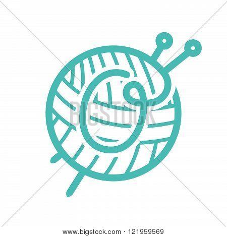 S Letter Logo With Skein Of Yarn And Knitting Needles.Vintage font style vector design template elements for your yarn shop or corporate identity.