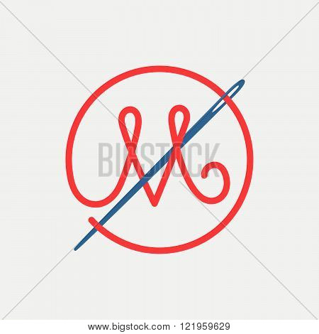 M Letter Logo With Needle And Thread.Font style vector design template elements for your application or corporate identity.
