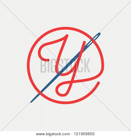 Y Letter Logo With Needle And Thread.Font style vector design template elements for your application or corporate identity.