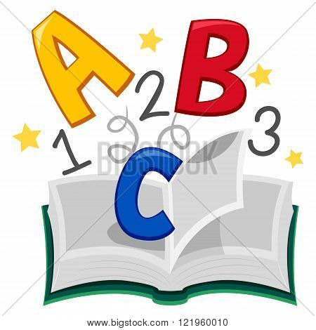 Vector Illustration of Open Book of ABC