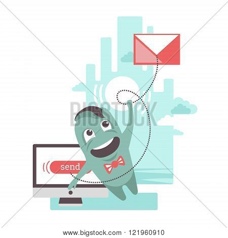 The funny character is sending e-mail letter