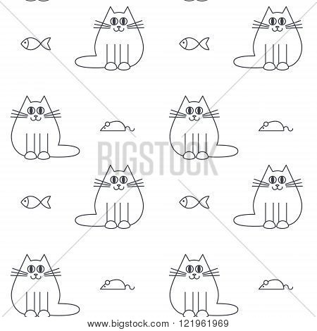 Happy furry cats with mice and fishes. Vector line seamless pattern black on white background.