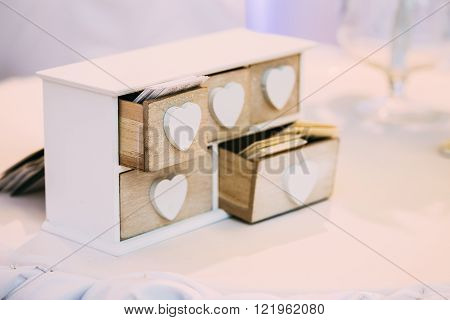 White Vintage Decorative Wooden Box for Visiting Cards