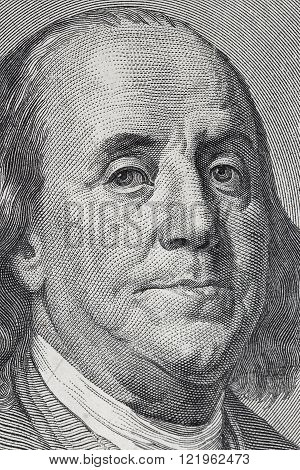 Benjamin Franklin. Qualitative portrait from 100 dollars banknote.