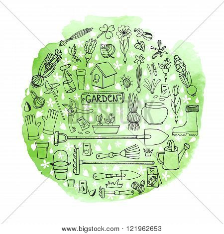 Spring garden.Hand drawn flowers, bulb, garden tool, boarding equipment in circle composition.Vector garden sketch.Watercolor greeen splash.Spring Gardening , planting spring symbols, vintage vector