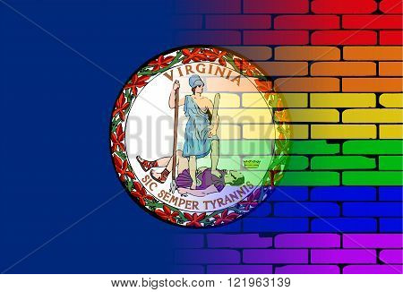 A well worn wall painted with a LGBT rainbow with the Virginia state flag
