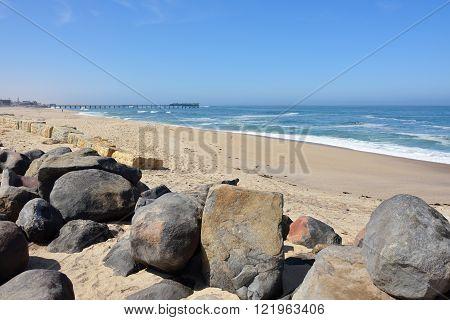 Atlantic Coastline And The Mole In Swakopmund