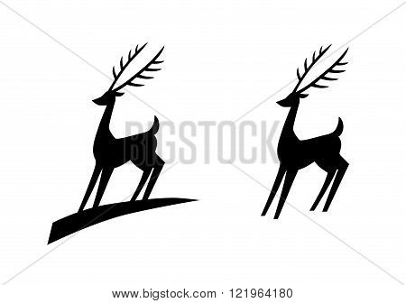 A simple monochrome deer logo, with and without underline.