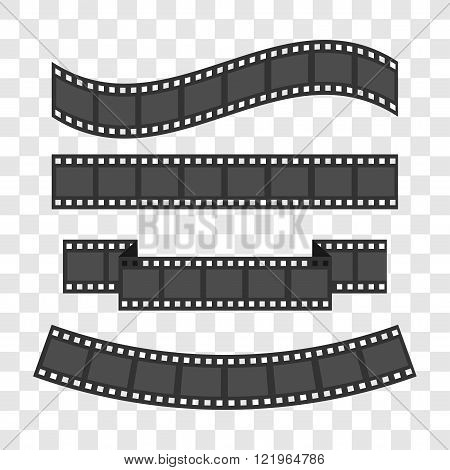 Film strip frame set. Different shape ribbon. Design element. Flat design style Template Transparent background isolated Vector illustration