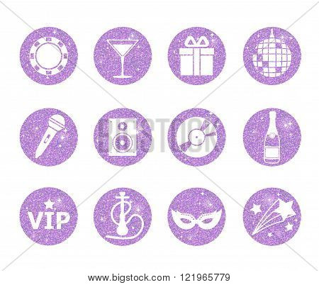 A collection of sparkling violet glitter stylized fancy night club and party circle icons. Music sound drink hookah disco ball vip star etc