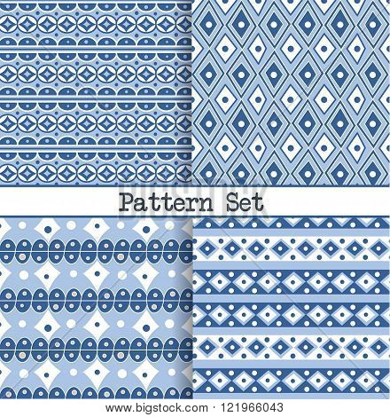 A set of seamless blue and white oriental vintage Moroccan patterns for fabric, wrapping, design and