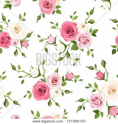 Vector seamless pattern with pink and white roses and green leaves on a white background.