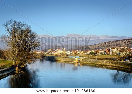 River Cetina is one of main rivers in Dalmatia region. In the background is located small nice town called Trilj. Photography is taken in autumn 2015.
