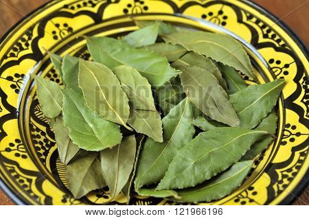 Whole dried Bay or Bay Laurel leaves used in cooking to flavor dishes.