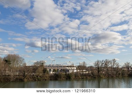 River Garonne and soccer stadium in Toulouse, France