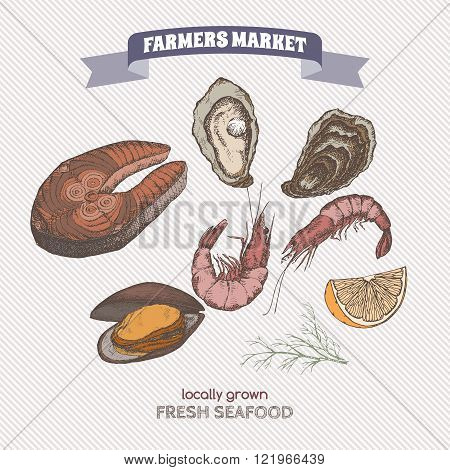 Color farmers market label with seafood