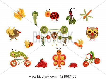 Creative food concept. Fabulous  country, made of fruits and vegetables.