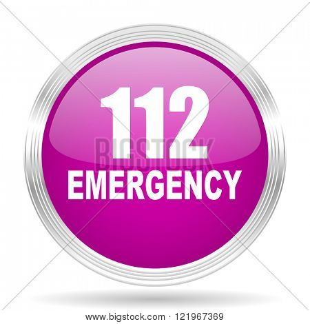 number emergency 112 pink modern web design glossy circle icon
