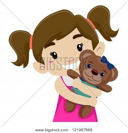 Vector Illustration of a Little Girl Hugging her Teddy Bear