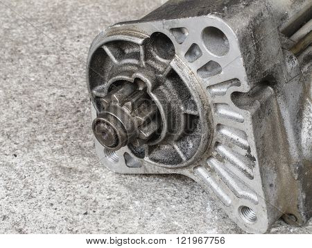 Old car starter gear, part of engine starter motor
