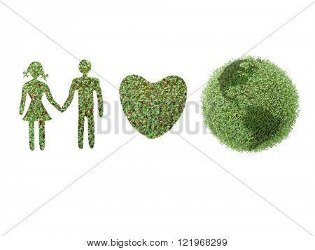 Green icons of female and male, Heart, and Earth globe on white