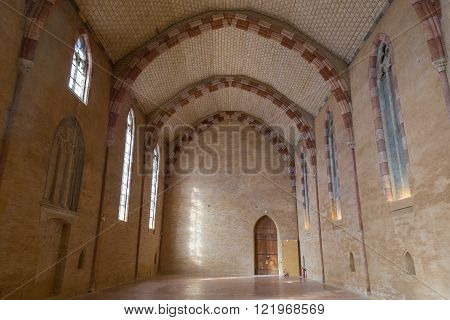 Toulouse, France - February 20, 2016: Photograph of a huge hall in the Augustian convent.
