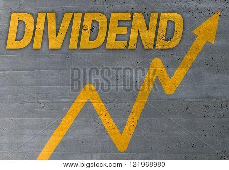 dividend graph concept on cement texture background
