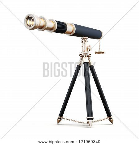 3d model telescope isolated on white background.