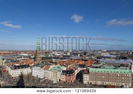 Copenhagen, Denmark - February 26, 2016: View of the skyline from Christiansborg castle tower.