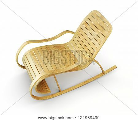 3d illustrationl of wooden rocking chair isolated on white backg