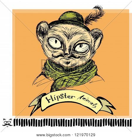 Hand Drawn Fashion Portrait of tarsier monkey Hipster isolated on background