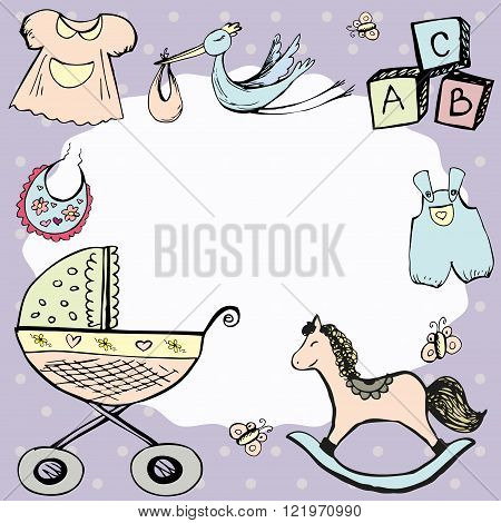 baby announcement card or baby frame