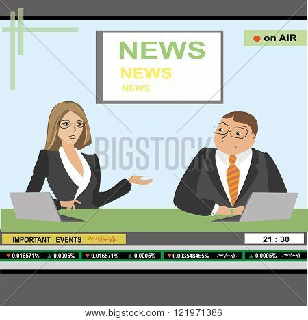 news anchor man and woman header TV