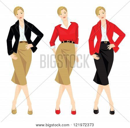 Vector illustration of different look with jacket, cardigan, skirt and white shirt. Casual and formal style of clothes. Base wardrobe. Different color of shoes, jacket and skirt.
