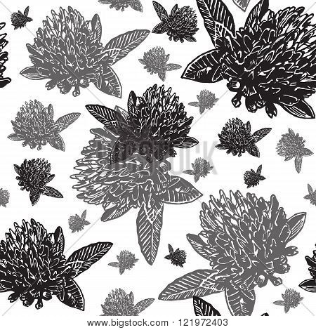 Vintage floral seamless pattern with engraved black clovers on white background