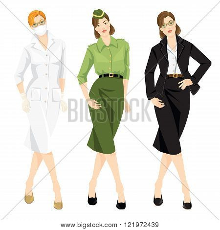 Set of professional woman. Vector illustration of military woman in formal clothes, medic woman dentist or in medical gown, professor in official black suit,white blouse.