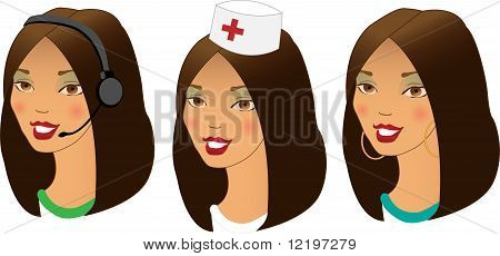 Profession women avatars set