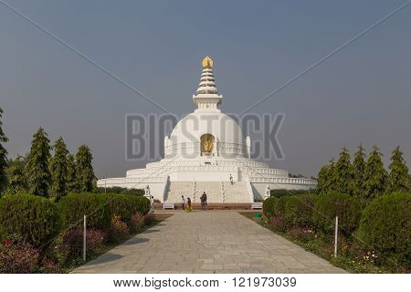 World Peace Pagoda in Lumbini, Nepal
