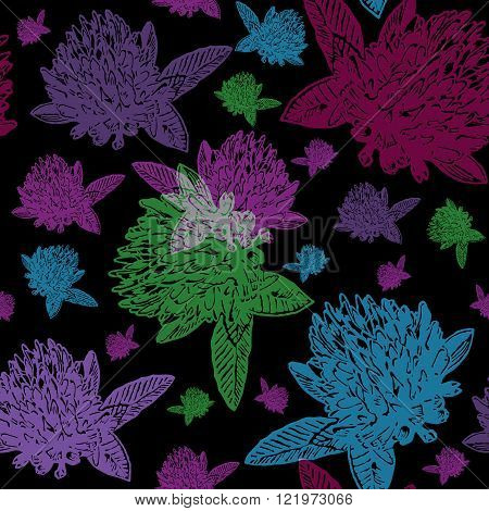 Vintage floral seamless pattern with engraved colourful clovers on dark background