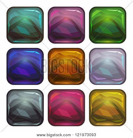 Cartoon app icon backgrounds set