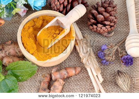 Turmeric powder and fresh turmeric for health