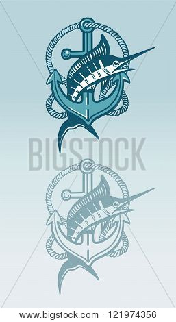Swordfish and achor sign with rope in blue color