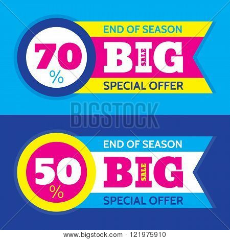 Big sale abstract vector horizontal banner - special offer 50% 70%. Sale vector banner - end of season. Sale abstract background. Super big sale design layout. Sale banner template.