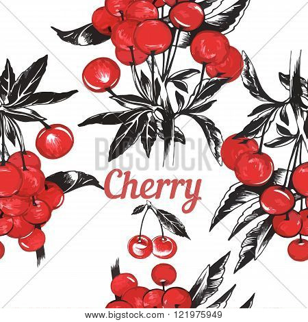 Seamless background with red hand drawn cherry