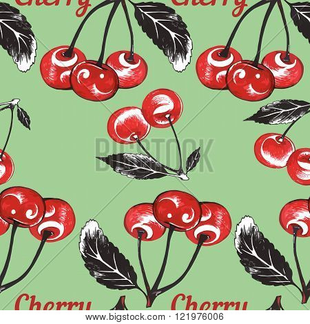 Seamless background with hand drawn cherry drawings